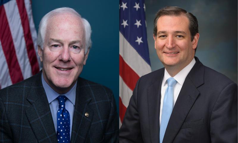 U.S. Sens. John Cornyn (left) and Ted Cruz (right).