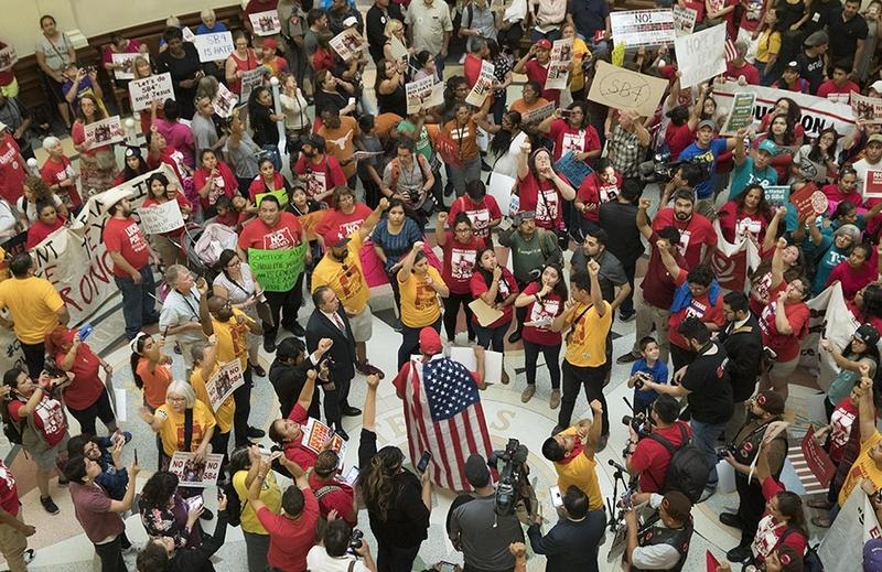 Massive protest engulfs the Capitol Rotunda as anti-SB4 protesters rally on May 29, 2017.  It's the last day of the 85th Legislative session on Memorial Day.