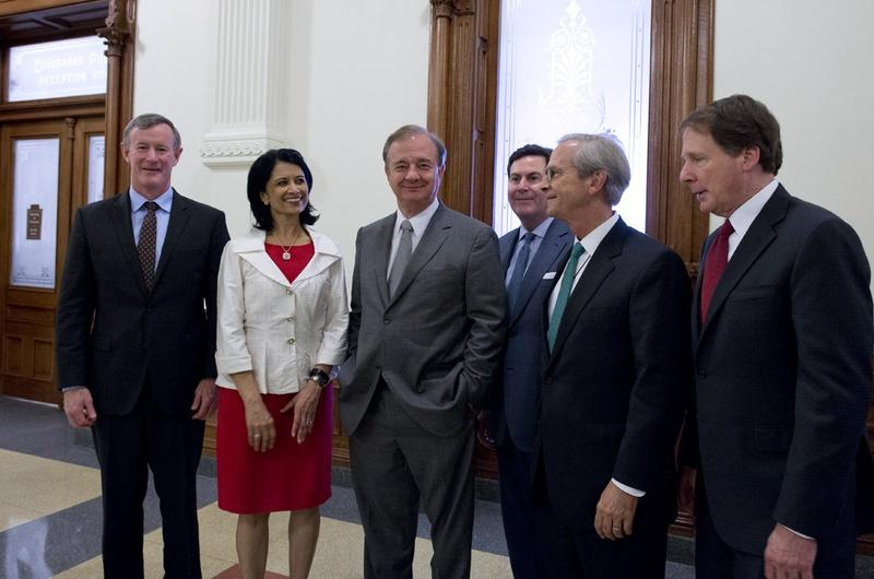 Left to right: Bill McRaven of UT System, Renu Khator of University of Houston System, John Sharp of Texas A&M University System, Brian McCall of Texas State University System, Lee Jackson of UNT System and Robert Duncan from Texas Tech University System.