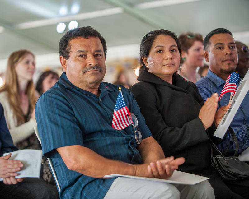 Immigrants at a naturalization ceremony