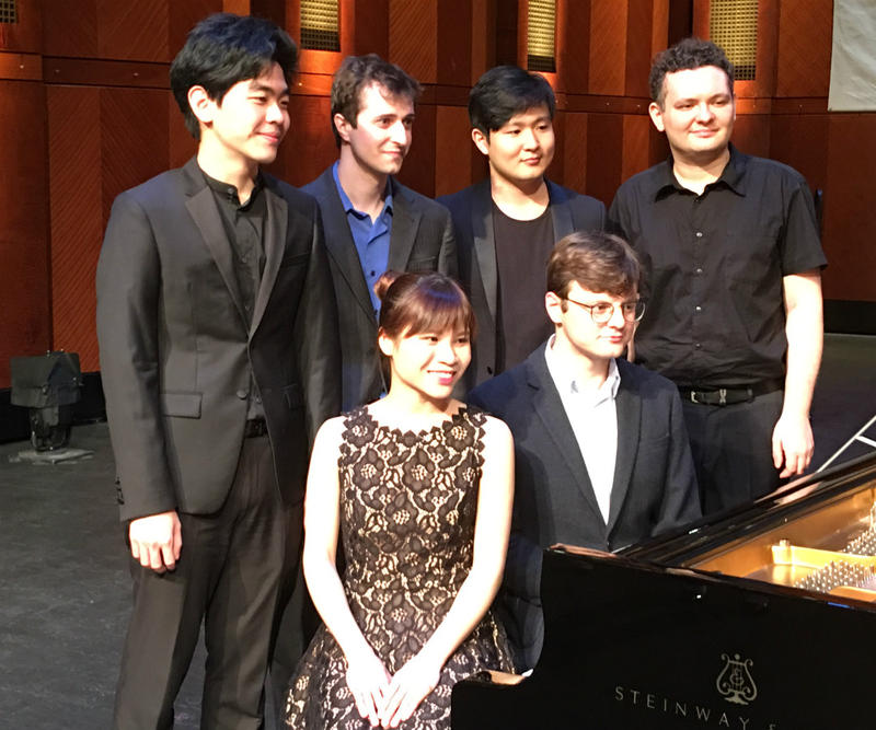 These are the six Cliburn finalists for 2017. Standing, l-r, Daniel Hsu, Kenneth Broberg, Yekwon Sunwoo, Yuri Favorin, sitting, l-r, Rachel Cheung, Georgy Tchaidze