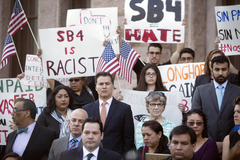 Demonstrators gather at the Capitol to protest Senate Bill 4, which the House was set to debate on April 26, 2017. The bill would penalize so-called sanctuary cities.