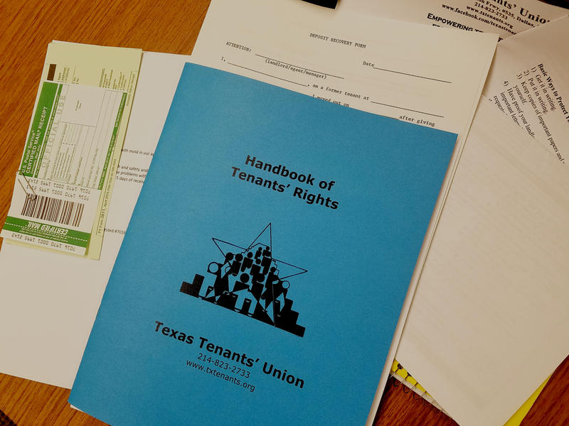 A handbook of tenants' rights available to renters at a free workshop in Dallas.