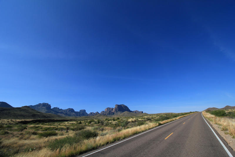A road through the Chisos Mountains in West Texas.