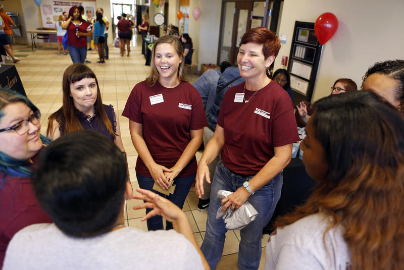 Amy O'Keefe and Sarah Matteson are part of TWU's team, started by O'Keefe, that reaches out to students who face unusual challenges attending, and completing, college.