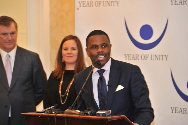 Richie Butler, pastor of St. Paul United Methodist Church in Dallas, speaking at the launch of the Year of Unity.