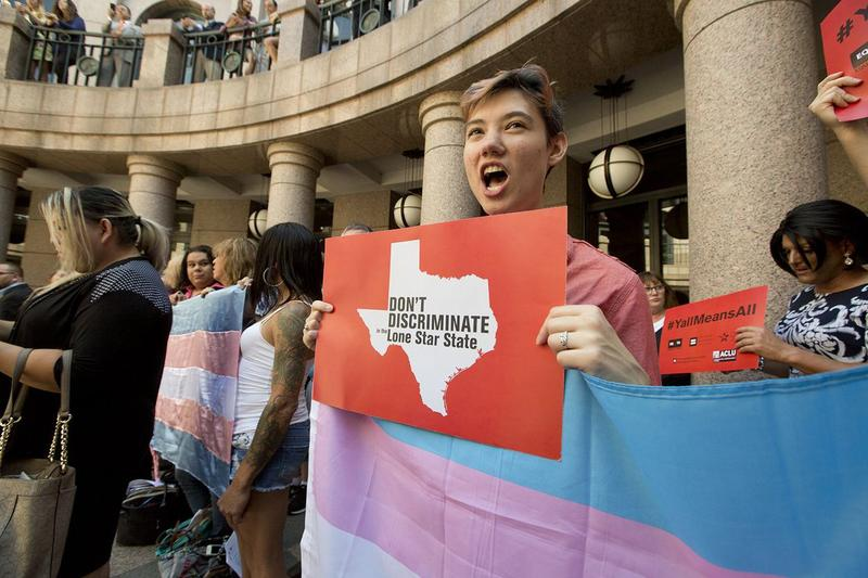 Protesters rally in favor of transgender rights at the Texas Capitol, on July 21, 2017.