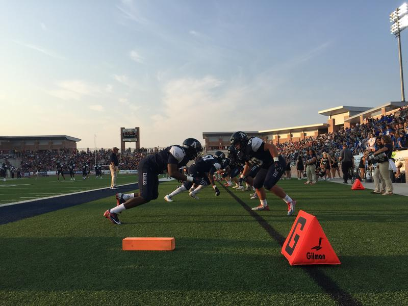The Allen Eagles football team warm up before an August 2015 game when the $60 million stadium re-opened after repairs.