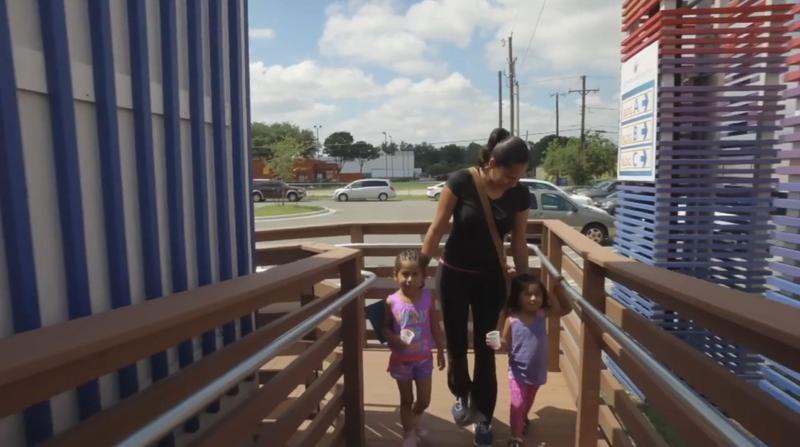 Denisse Gutierrez takes her two young girls to Bachman Lake Together, a family resource center in Dallas.