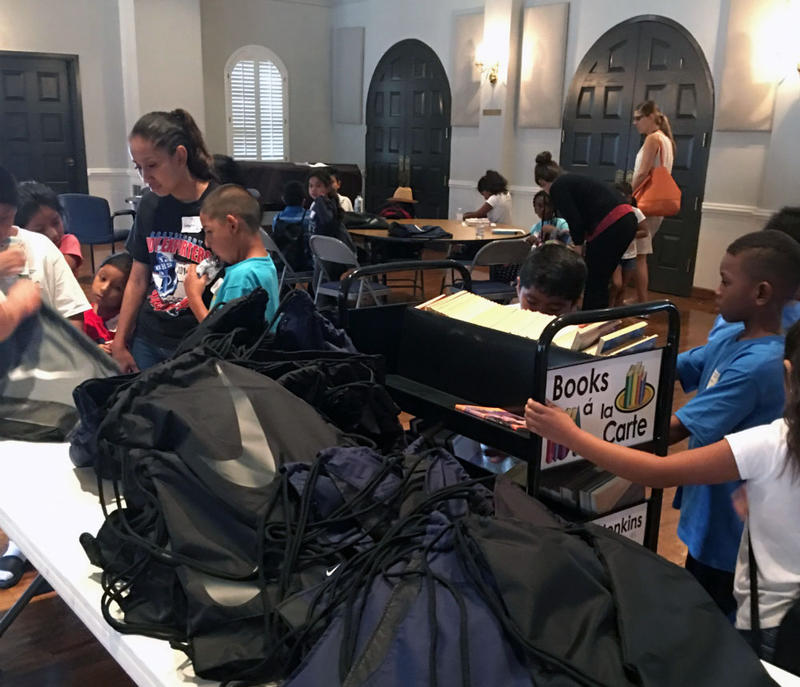 Thirty-nine Harvey evacuees sheltered in the Walnut Hill Recreation Center were able to attend school free this week thanks to Good Shepherd Episcopal School.