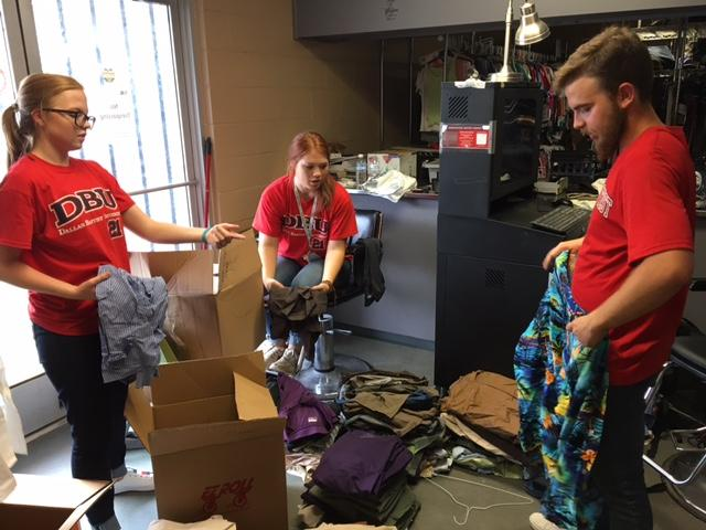 DBU students sort clothes at Cornerstone Baptist Church in South Dallas.