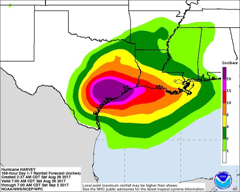 Flooding predictions for southeast and central Texas as of 1 p.m. Saturday.
