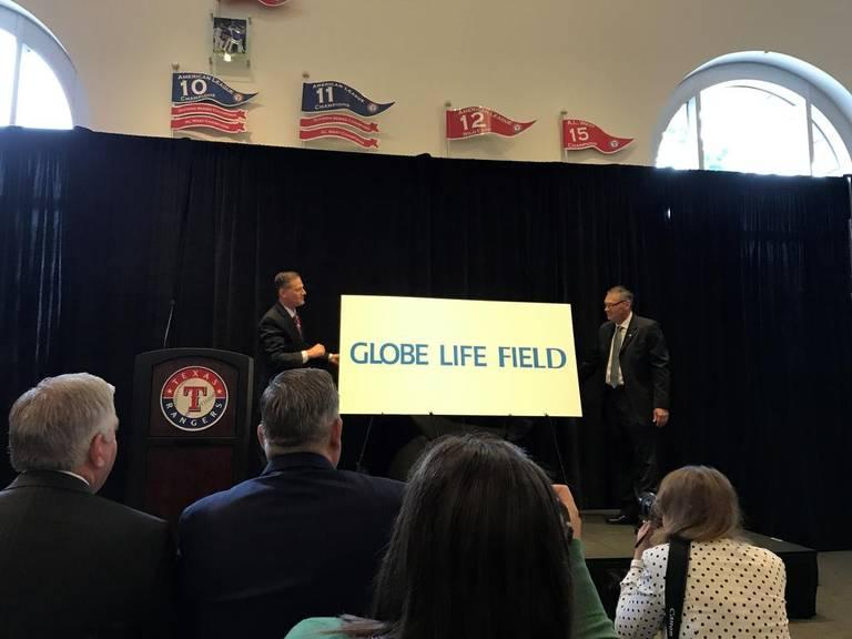 Texas Rangers officials announced the new deal with Globe Life on Thursday, Aug. 24.