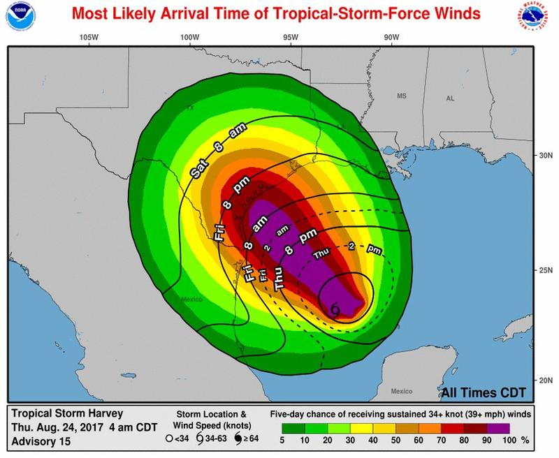 Tropical-storm-force winds are most likely to start over South Texas on Friday morning.