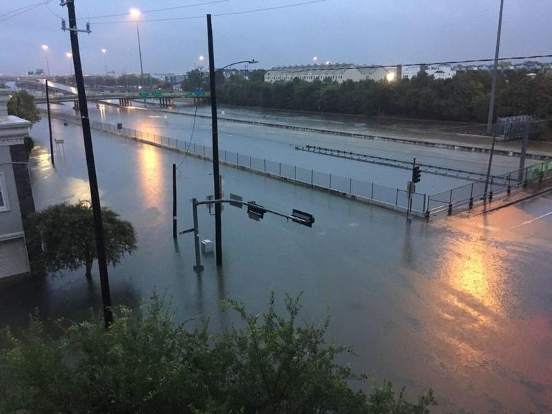 U.S. Interstate 59 underwater up to McGowan in Midtown Houston.
