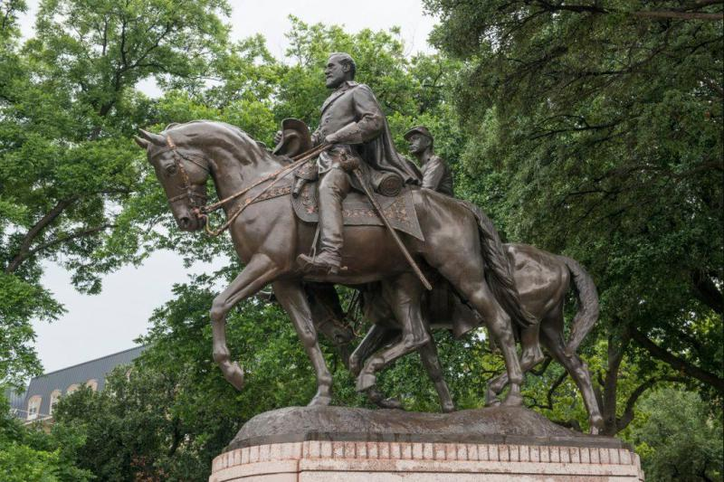 The statue of Confederate Gen. Robert E. Lee in Lee Park in Oak Lawn in Dallas.