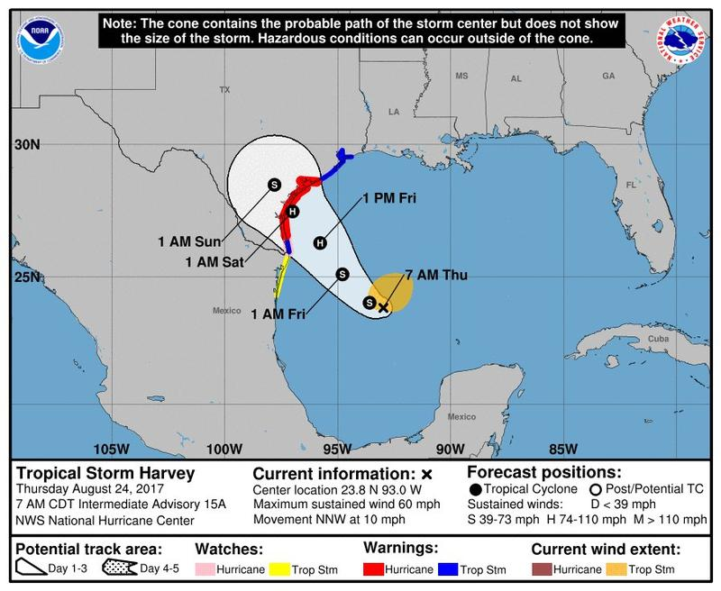 The cone shows the probable path of Tropical Storm Harvey.