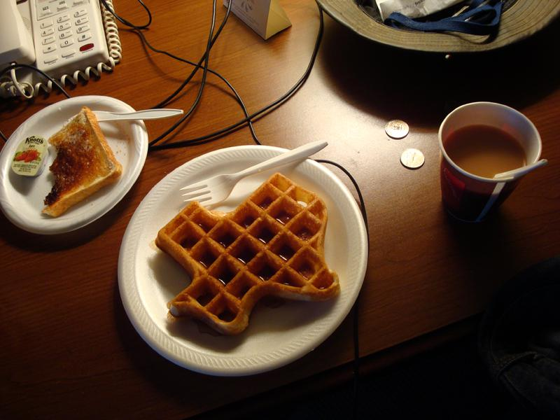 If you stay in a hotel in Texas, you should expect your waffles like this.