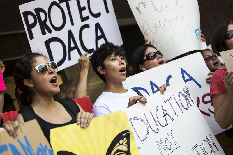 A rally in support of the Deferred Action for Childhood Arrivals (DACA) policy on Tuesday, Sept. 5, 2017 in Austin.