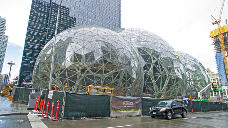 Amazon's three giant glass biosphere domes under construction at its headquarters in downtown Seattle in February 2017.