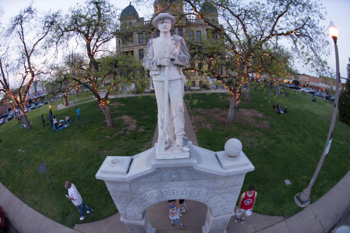 A Confederate soldier statue on the courthouse square in Denton.