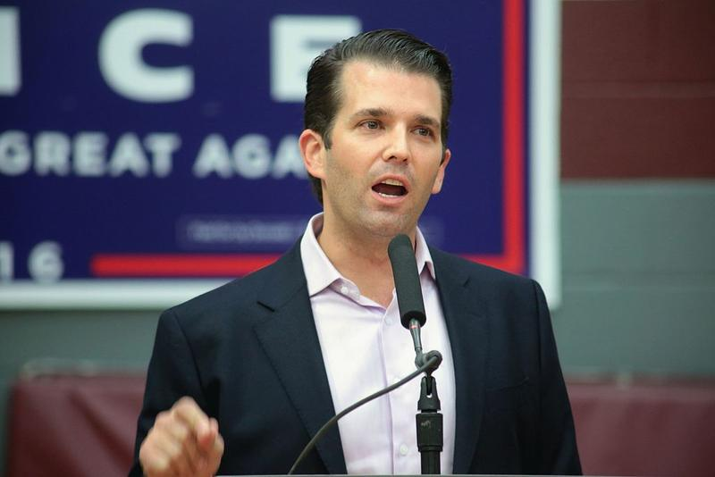 Donald Trump, Jr. speaking with supporters of his father, Donald Trump, at a campaign rally at the Sun Devil Fitness Center at Arizona State University in Tempe, Arizona in October 2016.