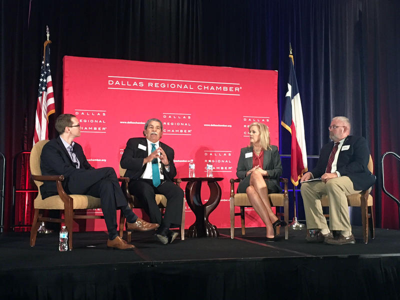 Texas Education Commissioner Mike Morath, Dallas ISD Superintendent Michael Hinojosa, Richardson ISD Superintendent Jeannie Stone and Eddie Conger, International Leadership of Texas superintendent at the Hilton Anatole Hotel in Dallas.