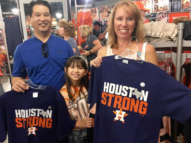 From left: Stuart, Lauren and Nancy Leong were among the Houston-area residents to show up at Minute Maid Park in Houston on Saturday.