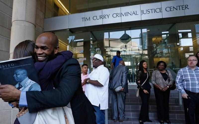 Attorney Nina Morrision gets a hug from John Nolley after the Bedford man was released from custody after nearly 19 years behind bars on May 17, 2016 in Fort Worth due to efforts by The Innocence Project. Nolley had been found guilty of murder in 1998.