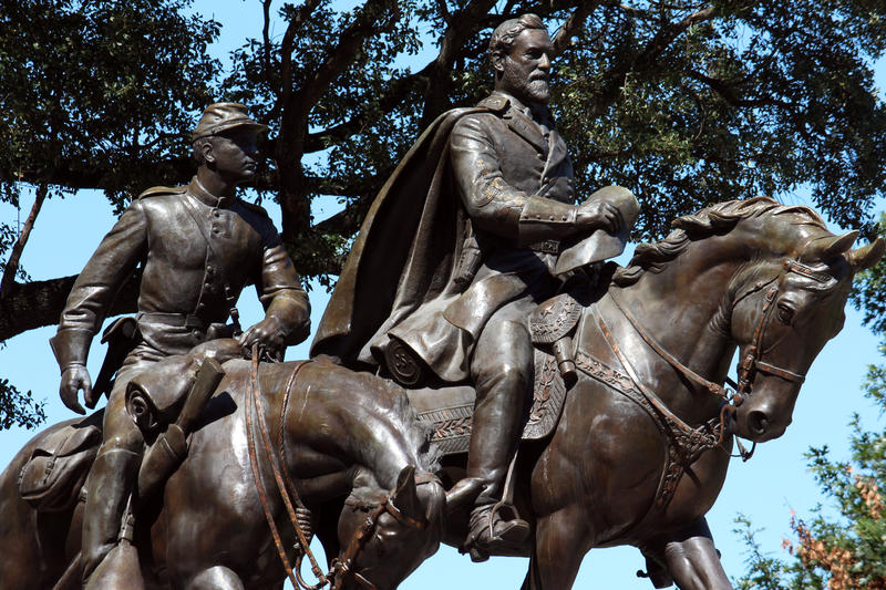 The statue of Confederate Gen. Robert E. Lee in Lee Park in Oak Lawn in Dallas.