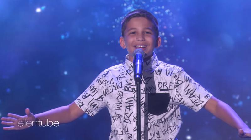 "Luke Chacko belts his rendition of ""Let It Go"" for the song's originator, Idina Menzel on ""Ellen."""