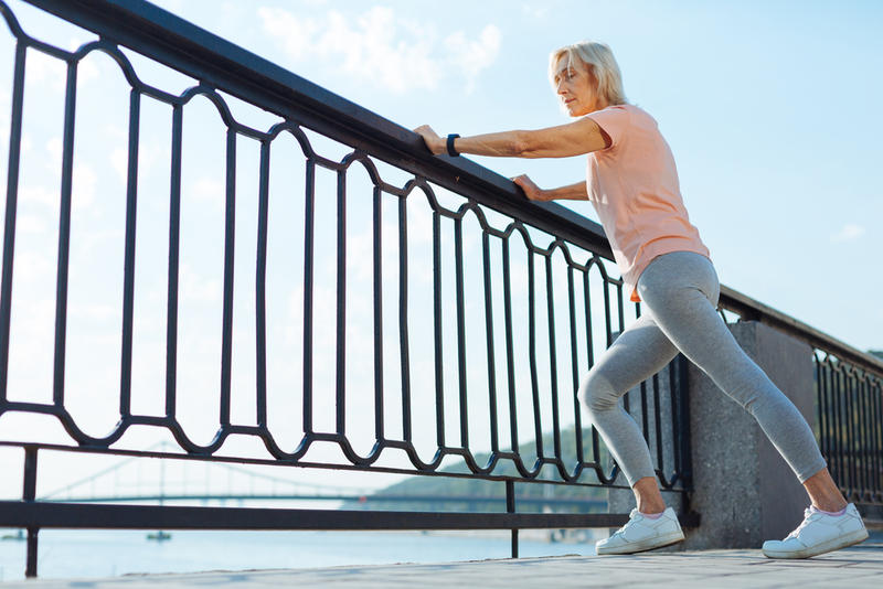 Exercising is a good way for senior to reduce the risk of falling.