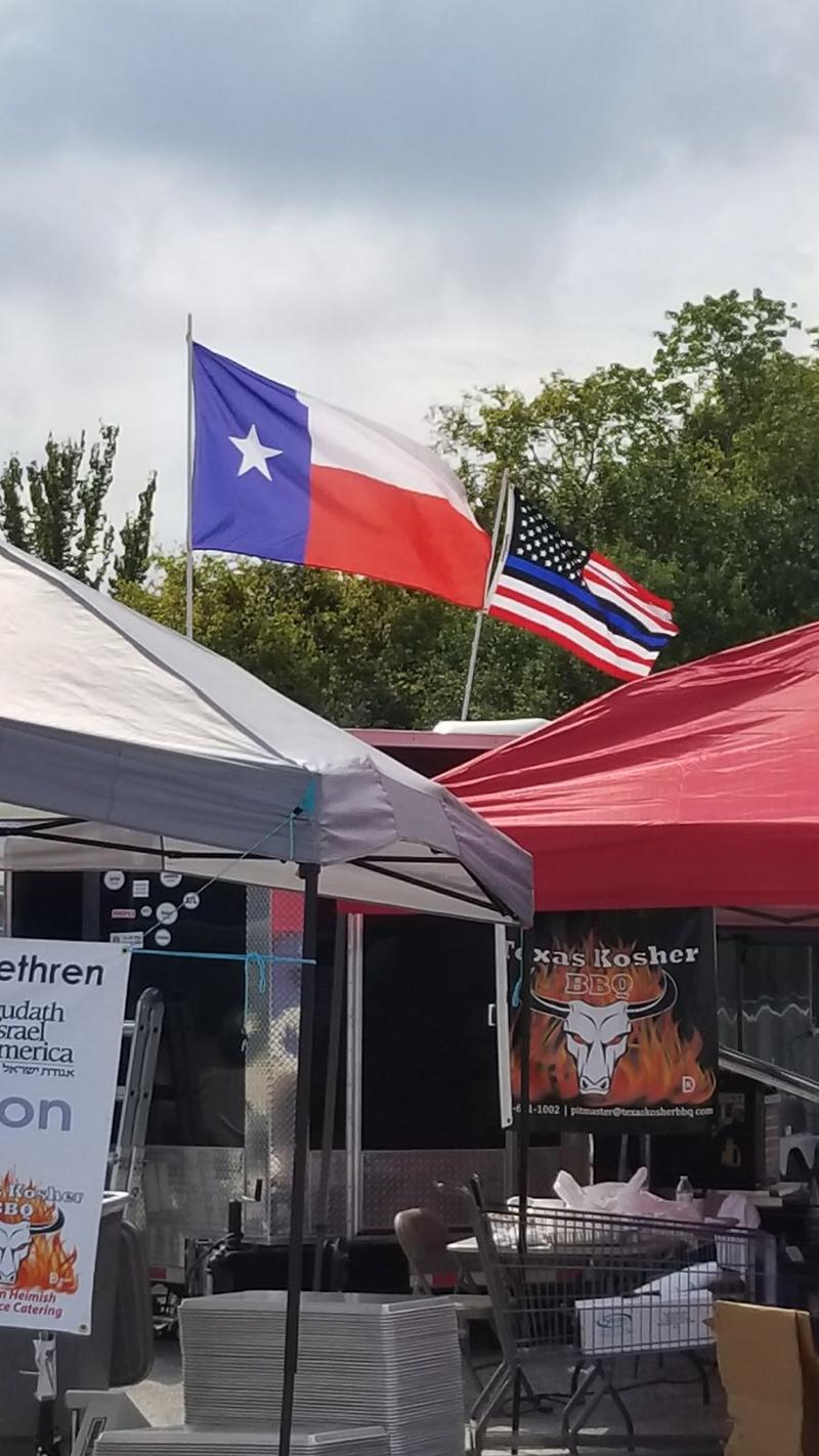 Texas Kosher BBQ cooking on the ground in Houston