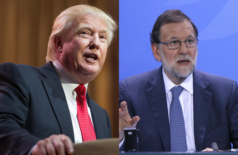 President Donald Trump (left) and Spanish Prime Minister Mariano Rajoy (right).