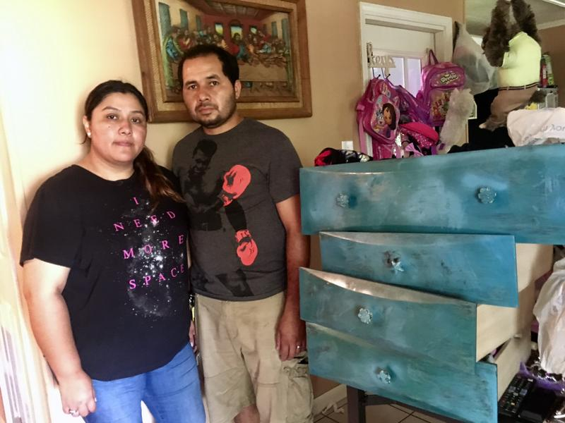 Nancy and Johny Vazquez spend their days cleaning up their Southeast Houston rental home. Their landlord says they have to be out soon.
