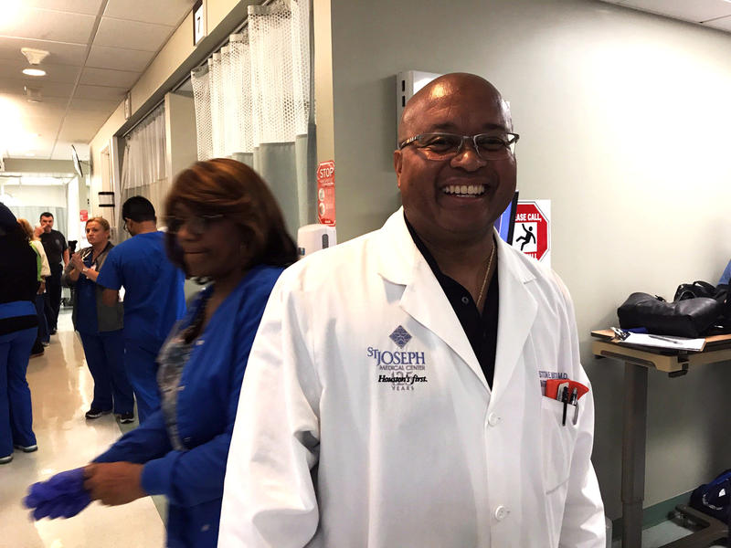 Dr. Winston Watkins is an internist at St. Joseph Medical Center in Houston. He volunteered to do a shift in the ER to relieve some of his colleagues.
