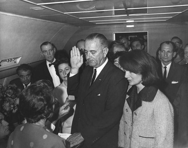 President Lyndon B. Johnson is sworn in on Air Force One at Dallas Love Field on Nov. 22, 1963, the day President John F. Kennedy was killed.