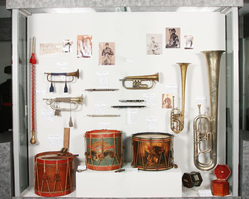 Musical instruments used by Union soldiers.
