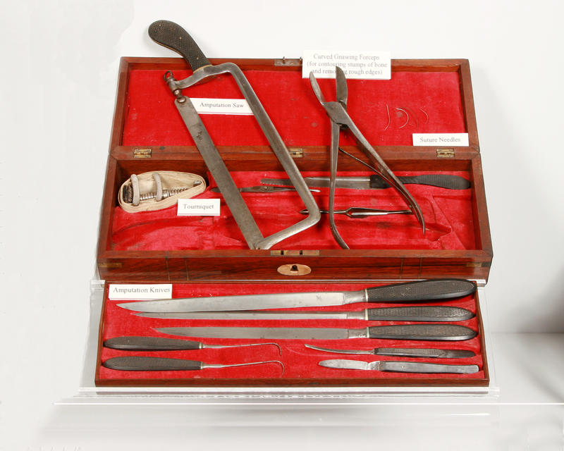 A surgical kit that was likely used in the battlefield.