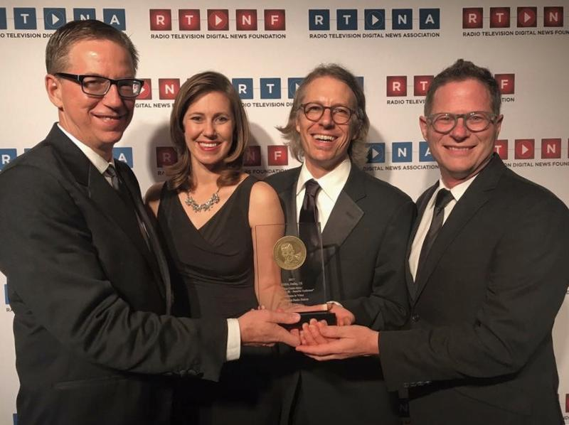 KERA's Murrow-winning team (from left): Rick Holter, Courtney Collins, Jeff Whittington and Thorne Anderson.