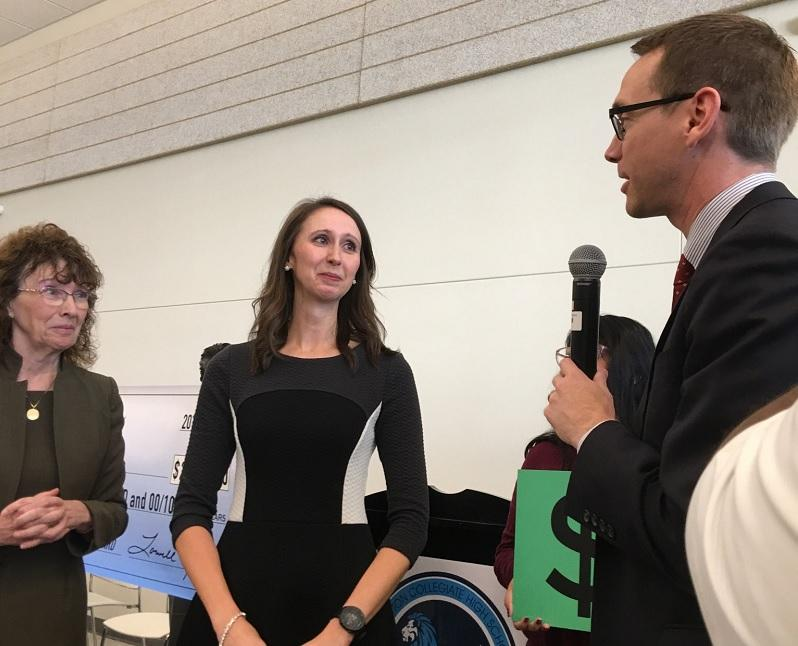 Arlington Collegiate High School teacher Jenn Fuller accepts the  Milken Educator Award.