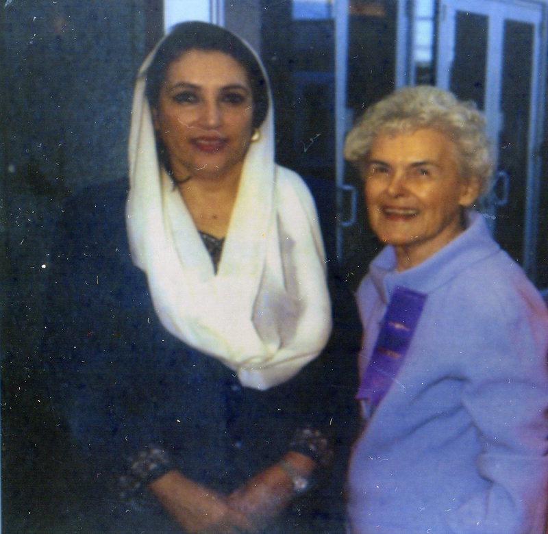 Castleberry with Benazir Bhutto, prime minister of Pakistan from 1993 to 1996.