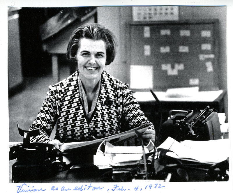 Castleberry at her Times Herald desk in 1972.