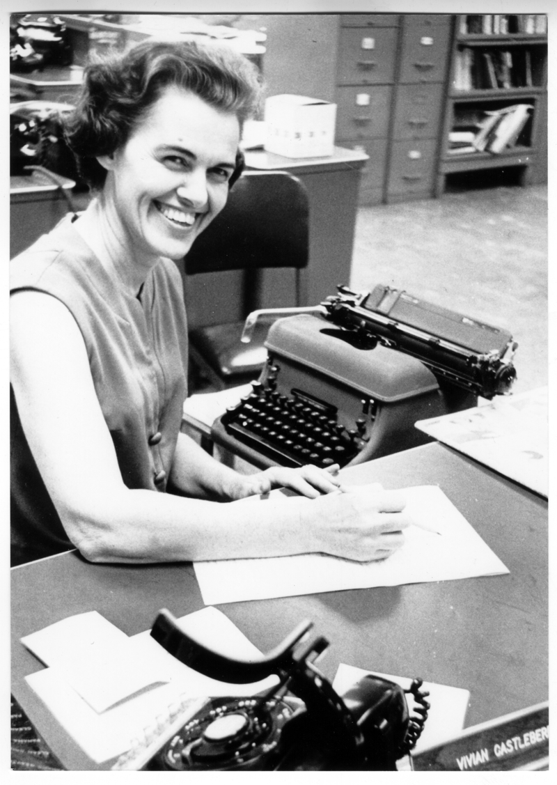 Castleberry in an undated photo at her desk at the Dallas Times Herald.