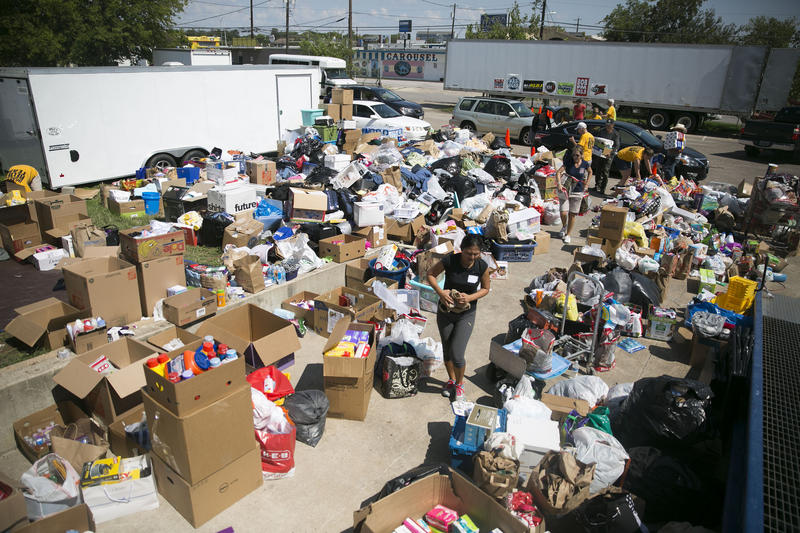 Staff and volunteers at the Hope Family Thrift Store in Austin sort through thousands of donated goods for Hurricane Harvey victims.