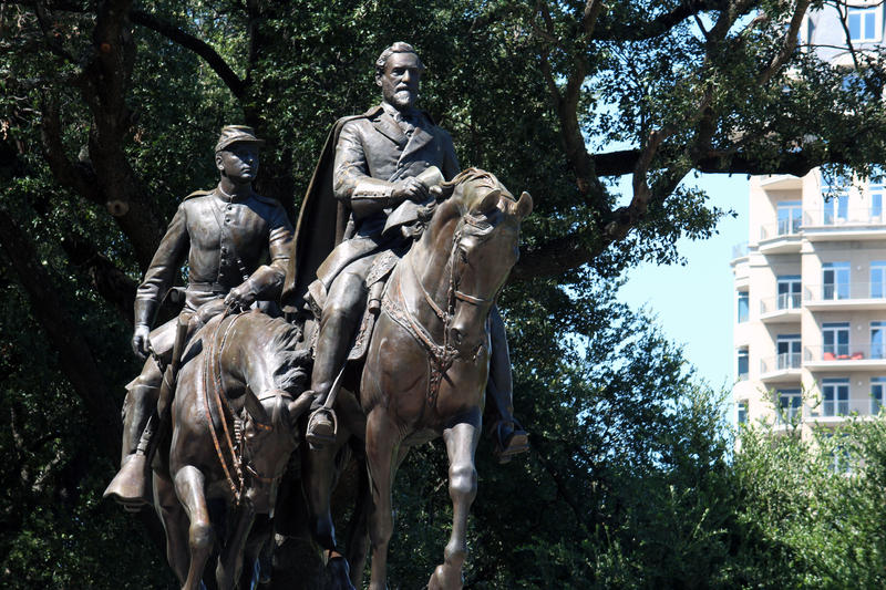 A statue of Confederate Gen. Robert E. Lee at Lee Park (now Oak Lawn Park) was removed last month.