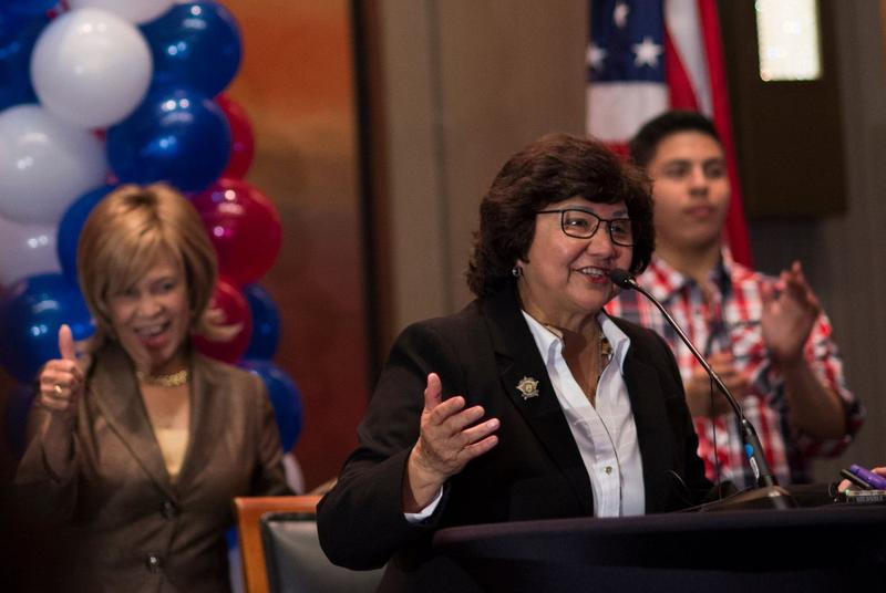 Dallas County sherif Lupe Valdez speaks during the Dallas County Democratic watch party in Dallas, Texas on Nov. 8, 2016.