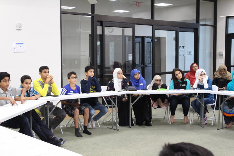 Students learn about bullying at a recent workshop at the East Plano Islamic Center. The event was organized by CAIR-DFW and the Islamic Networks Group.