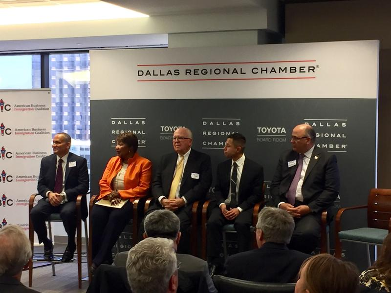 Business leaders and lawmakers gather to promote the need for finding bipartisan DACA legislation solutions at a Dallas Regional Chamber forum. Panel from left to right: Bill Lucia, Rep. Eddie Bernice Johnson, John Rowe and  Juan Carlos Cerd.