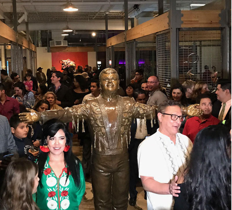 Mercado Artesanal opened in Oak Cliff over the weekend. Visitors are greeted at the entrance with a statue of the late Mexican singer Juan Gabriel. The sculpture is the work of artist Edysa Ponzanelly (left).